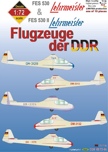 Flugzeuge der DDR: FEZ530  Lehrmeister,  Registration letters, numbers, cheatlines and other markings in red and blue  CON887294