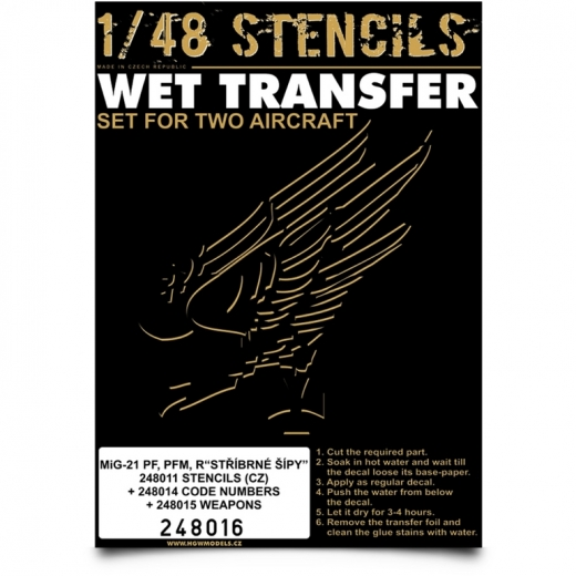 Wet Transfer stencils for MiG21PF, PFM, R (CZ) (for 2 aircraft)  HGW248016