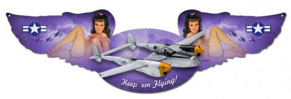P-38 Lightning: Keep em Flying Metal Sign / pin up  PTS-BLV002