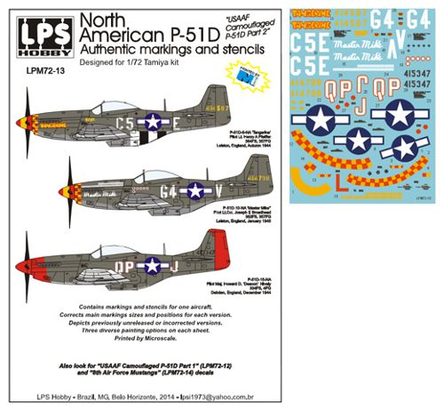 North American P51D Mustang (US Camouflaged P51D Part 2)  LPM72-13