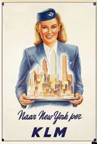 KLM New York, stewardess metal poster  9125