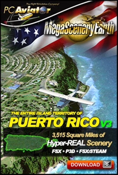 Mega Scenery Earth Version 3, Puerto Rico (Download version)  DL-MSEV3-PR