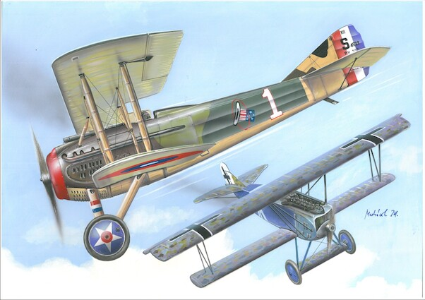 Fokker DVII and Spad XIII,  Duel in the sky  (Dual Combo)  VAL14419