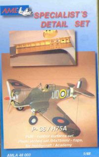 Curtiss P36A/C, Hawk 75A1-6 Control surfaces and  flaps (Hobbycraft/Academy)  AMLA4803