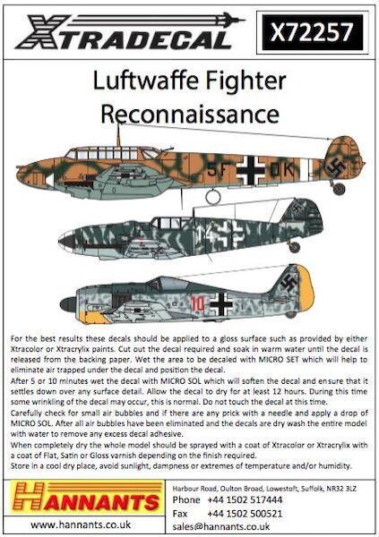 Luftwaffe Reconnaissance Fighters (Messerschmitt Bf-109F/G, Focke-Wulf  190A-4, F6 Messerschmitt Bf110D/E) (Xtra-decal X72257)