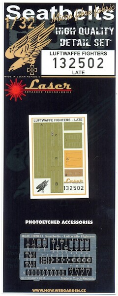 Luftwaffe Fighter (Late) Seatbelt set Laser cut  HGW132502