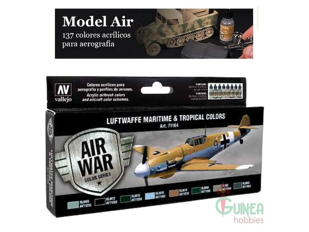 Vallejo Model Color Air Acrylic paint set 3 Luftwaffe Maritime and tropical Colours  71164