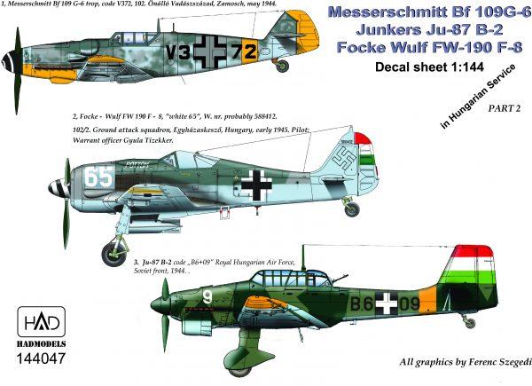 Hungarian AF WW2 part 1 (Ju87B-2, Bf109G-6, FW190F-8 (Hungarian Armour Dec  HAD144046)