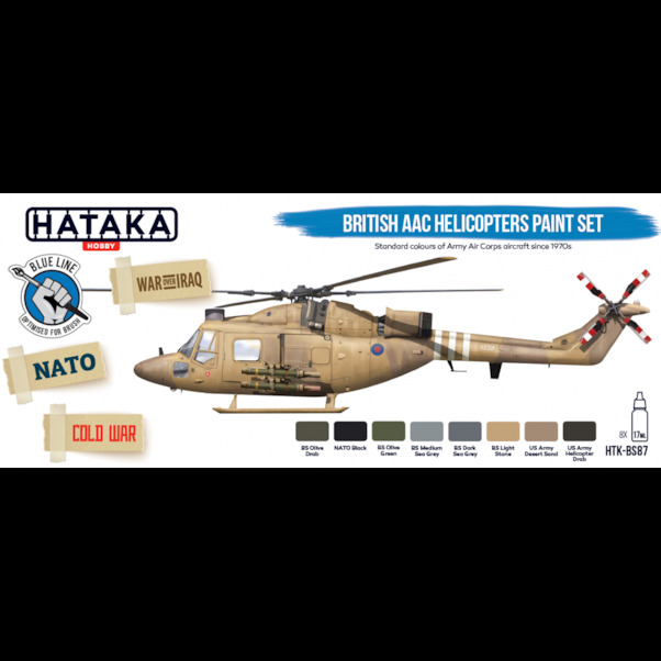 British AAC helicopters paint set (8 colours) Optimised for Brushpainting  HTK-BS87