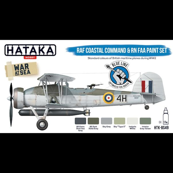 RAF Coastal Command and Royal Navy/FAA Paint set set (6 colours) Optimised for Brushpainting  HTK-BS49