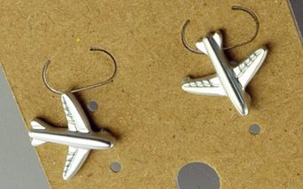Silver plated matte aircraft pair of stud earrings  EAR3286-SILVER