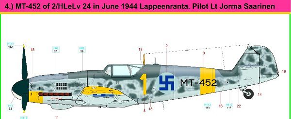 Finnish AF Messerschmitt Bf 109G-6 aces, summer 1944  KUID32002