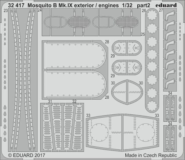 Detailset Mosquito B MKIX Exterior and engines (HK models)  E32-417