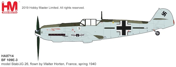 Messerschmitt Bf109E-3 Luftwaffe, Stab/JG 26, flown by Walter Horten,  France, spring 1940  HA8714