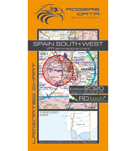 VFR aeronautical chart Spain South West 2020  ROGERS-ESP-SW