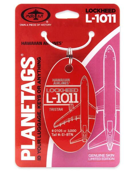 Keychain made of real aircraft skin: Lockheed L-1011 Tristar Hawaiian Airlines EI-BTN RED  EI-BTN RED