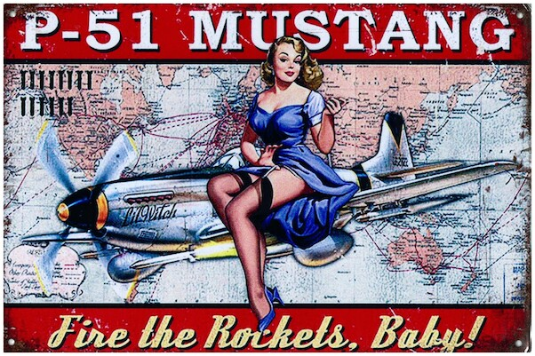 P-51 Mustang, Fire the rockets, Baby pin up metal poster metal sign  YD3133EI