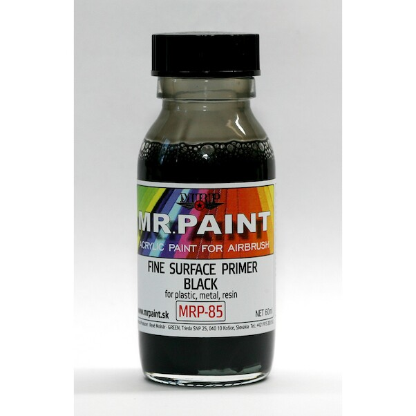 MR. Paint Fine surface Primer for Plastic, Metal, Wood and Resin - Black  mrp-085