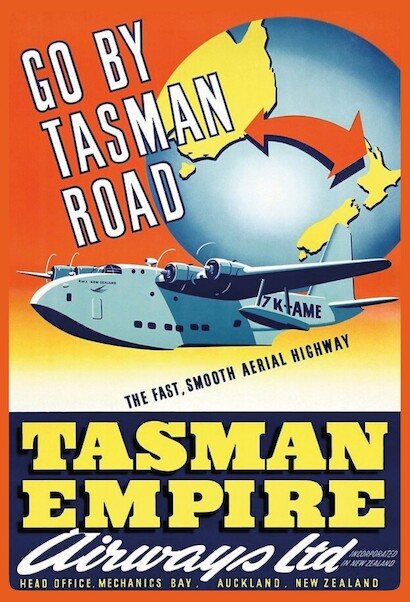 Tasman Empire Airways - Go by Tasman Road Vintage metal poster  AV0030