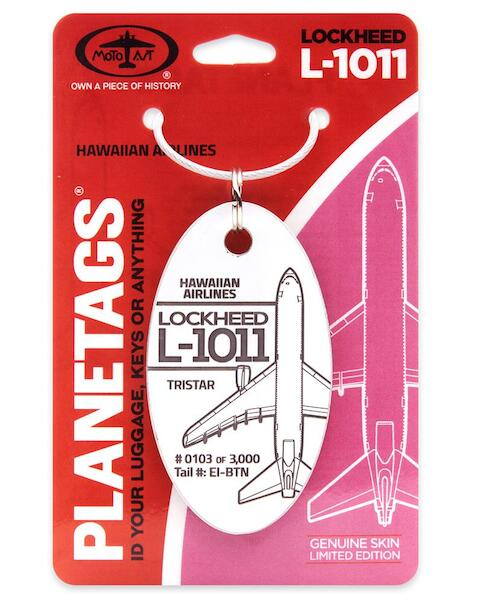 Keychain made of real aircraft skin: Lockheed L-1011 Tristar Hawaiian Airlines EI-BTN WHITE  EI-BTN WHITE