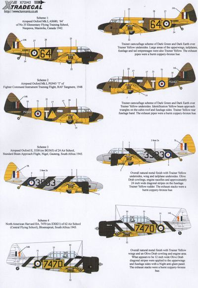 Commonwealth trainers (Oxford,Harvard, Anson, Battle, Spitfire MKIX)  X72143
