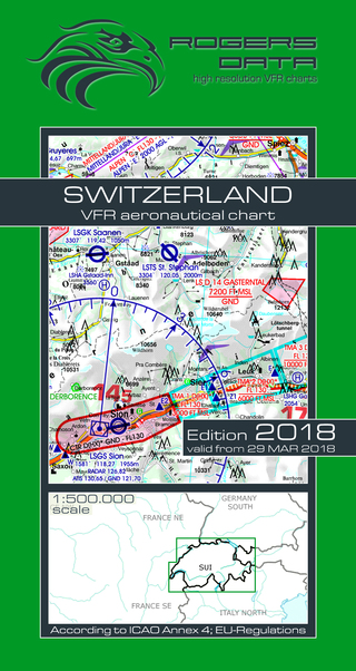 VFR aeronautical chart Switzerland 2018  ROGERS-SWISS