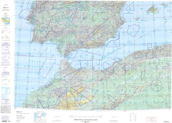 ONC G-1: Available: Operational Navigation Chart for Spain, Morocco, Algeria, Portugal. Available ! additional charts available within five working days. E-mail your requirements.  ONC G-1