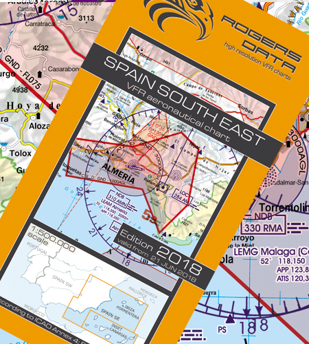 VFR aeronautical chart Spain South East  2018 (including Canary Islands)  ROGERS-ESP-SE