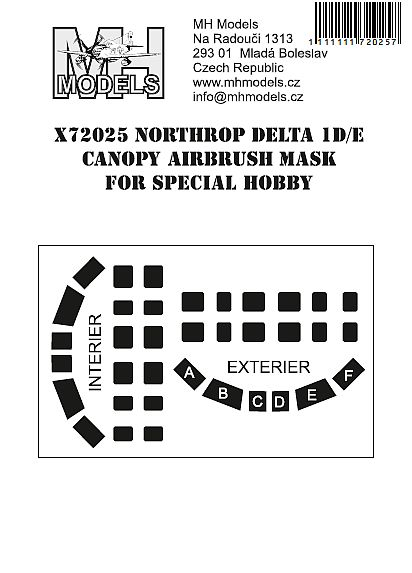 Northrop Delta 1D/E  Canopy Airbrush Masks (Special Hobby)  X72025