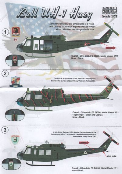 Bell UH1 Huey (US Army)  PRS72-019