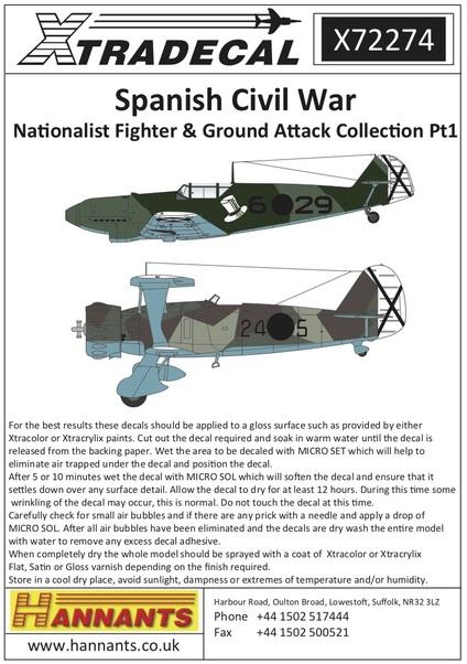 Spanish Civil War Legion Condor Pt 1 (Xtra-decal X72274)