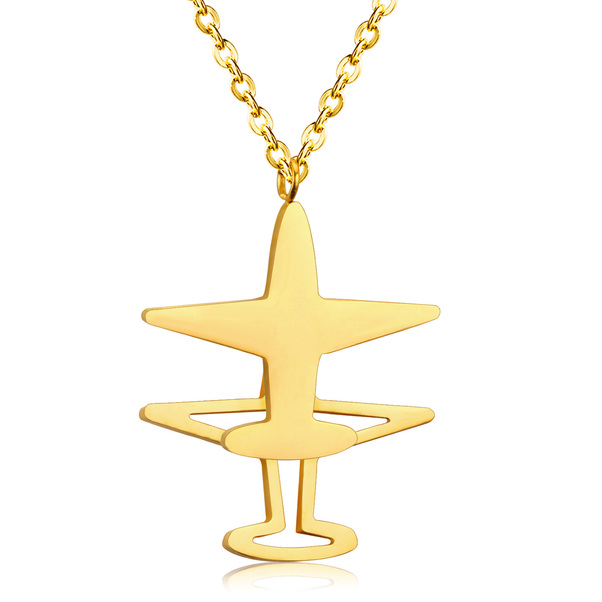 Stainless Steel Gold Color Double Vertical Aircraft Pendant Necklace  NECK GOLD VER