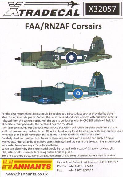 Vought F4U-1A Corsair Mk II (Xtra-decal x32057)