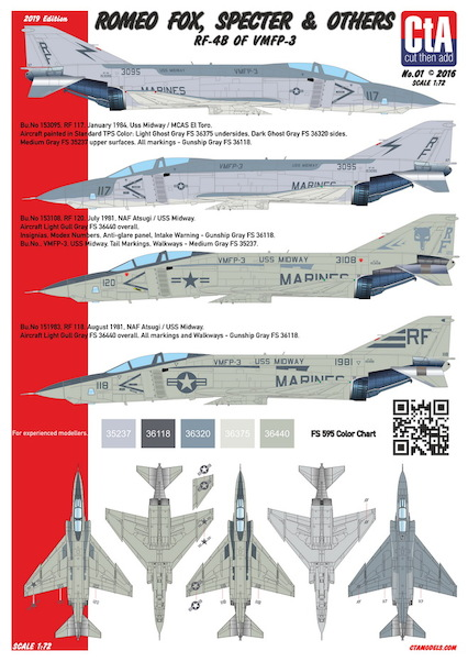 Romeo Fox, Specter & Others - RF-4B of VMFP-3, 3 Marking options, Low Vis.  CTA-001