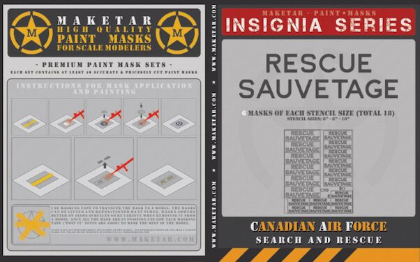 Canadian Air Force Rescue/Sauventage stencil masks (18)  MM32024