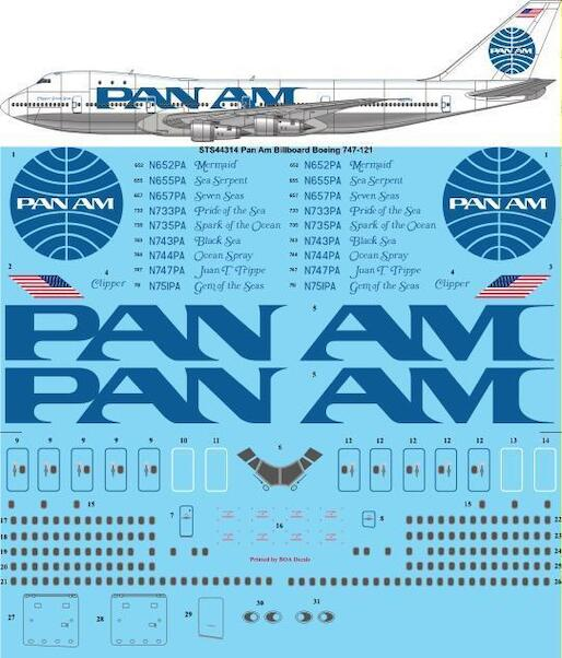 Boeing 747-121 (PanAm - Billboard colours)  sts44314