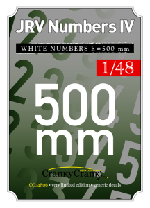 JRV White Numbers 500mm  CC4806