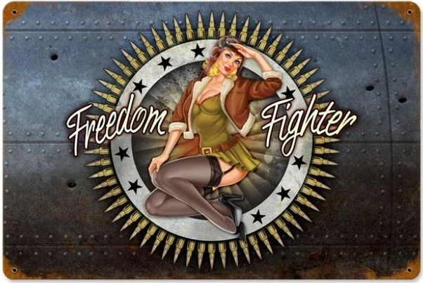 Freedom Fighter Metal Sign - pinup  PTS-LETH073