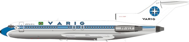 B727-100 (Varig) PP-VLF Polished  With Stand  IF721VR0319P