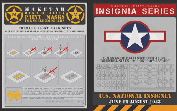 US Roundels June to August 1943 (34 Stars 'n Bars with red edge)  MM72014
