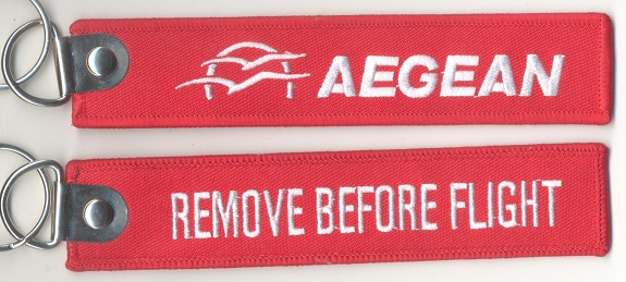 Keyholder with AEGEAN on one side and Remove Before Flight on back side  RBF-AEGEAN