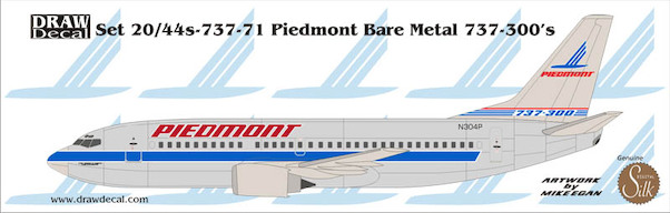 B737-300 (Piedmont Bare metal Blue)  20-737-71