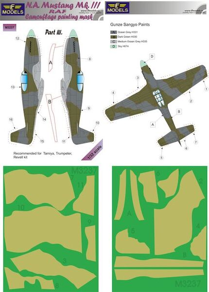 North American Mustang MKIII RAF Camouflage Painting Mask Part 3  LFM3237