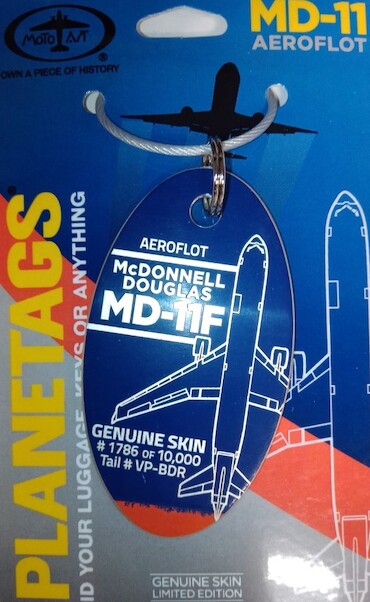 Keychain made of real aircraft skin: McDonnell Douglas MD11F Aeroflot  - VP-BDR (combo Blue Orange colours)  MD-11 BLUE-OR