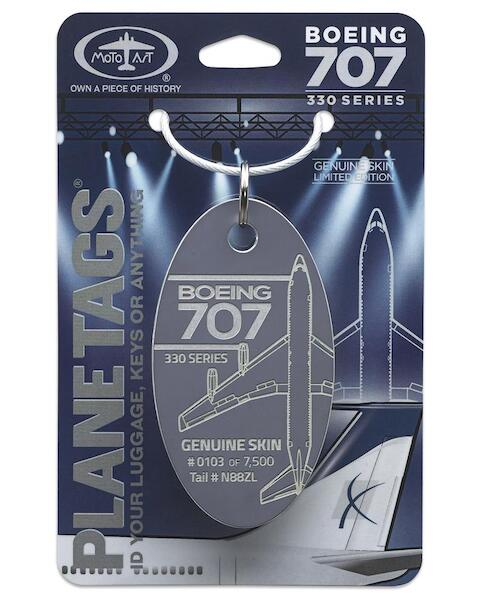 Keychain made of real aircraft skin: Boeing 707-330 N88ZL Dark grey  N88ZL GRAY