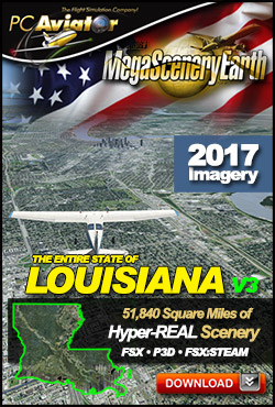 Mega Scenery Earth Version 3, Louisiana V3 (Download version)  DL-MSEV3-LA