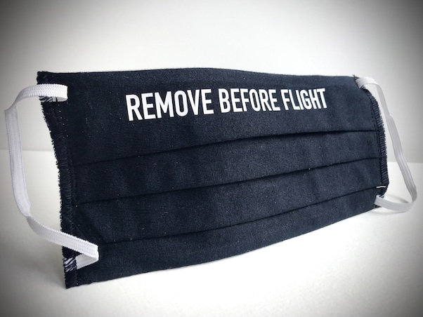 Aviation Face Mask Remove Before Flight (dark blue)  MASK SKY BLUE