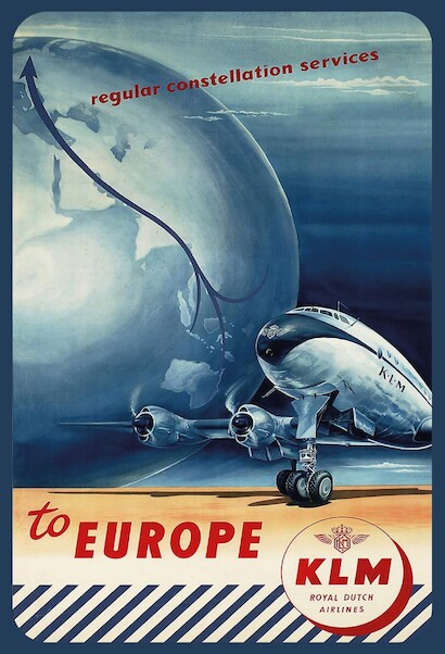 Regular Constellation Service to Europe - KLM Royal Dutch Airlines - Lockheed L-049 Vintage metal poster metal sign  MTSA4365