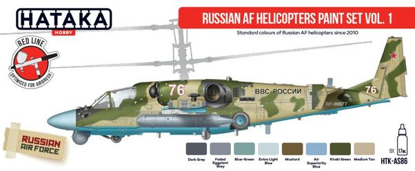 Russian AF Helicopters paint set vol. 1 (8 colours)  HTK-AS86