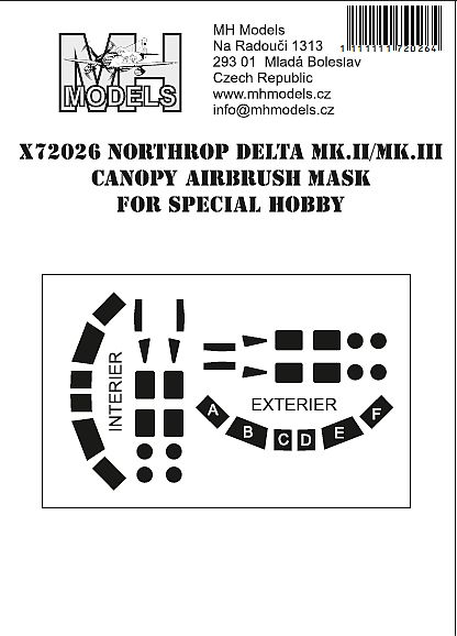 Northrop Delta MKII/III  Canopy Airbrush Masks (Special Hobby)  X72026